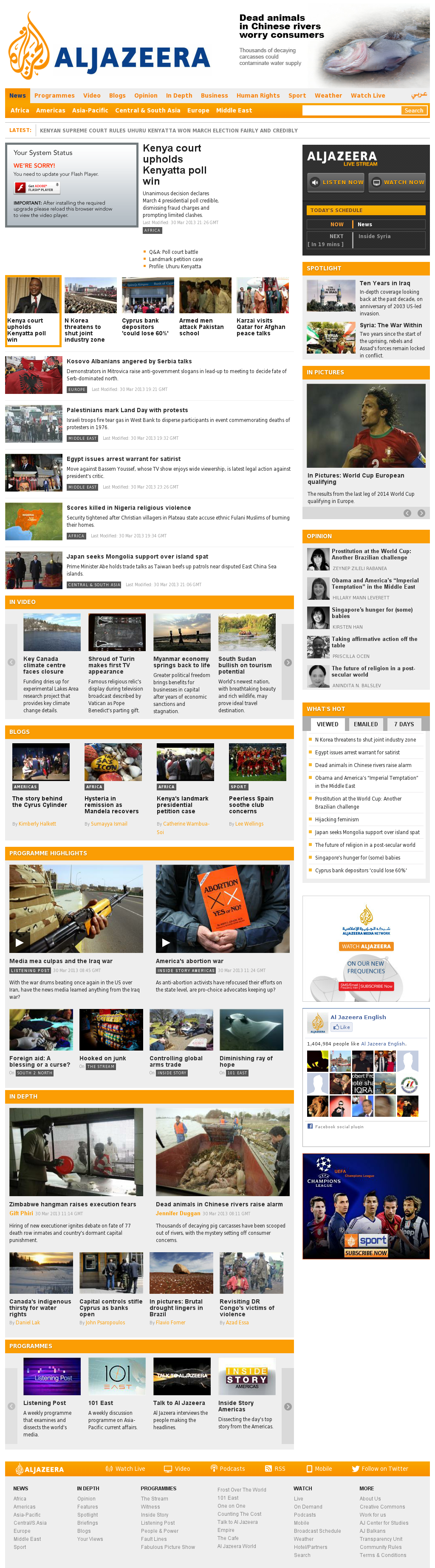 Al Jazeera (English) at Sunday March 31, 2013, 12:10 a.m. UTC