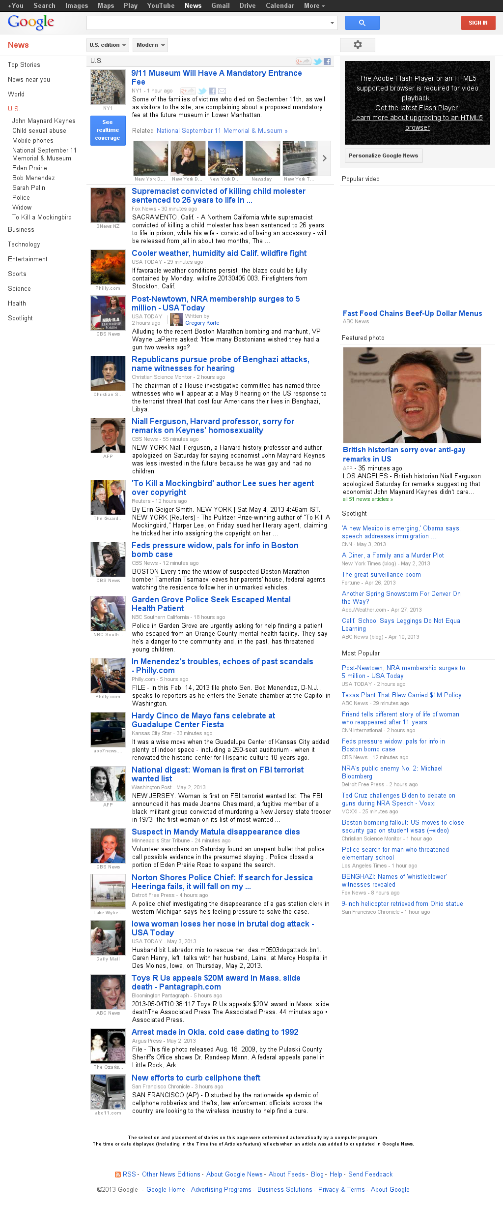 Google News: U.S. at Saturday May 4, 2013, 10:11 p.m. UTC