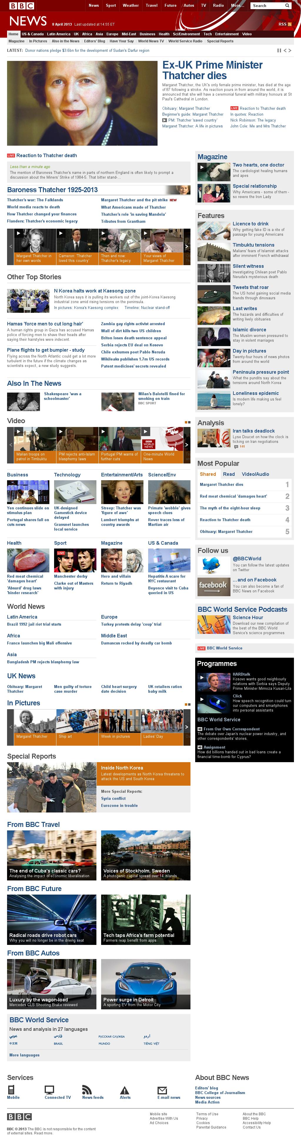 BBC at Monday April 8, 2013, 7:01 p.m. UTC