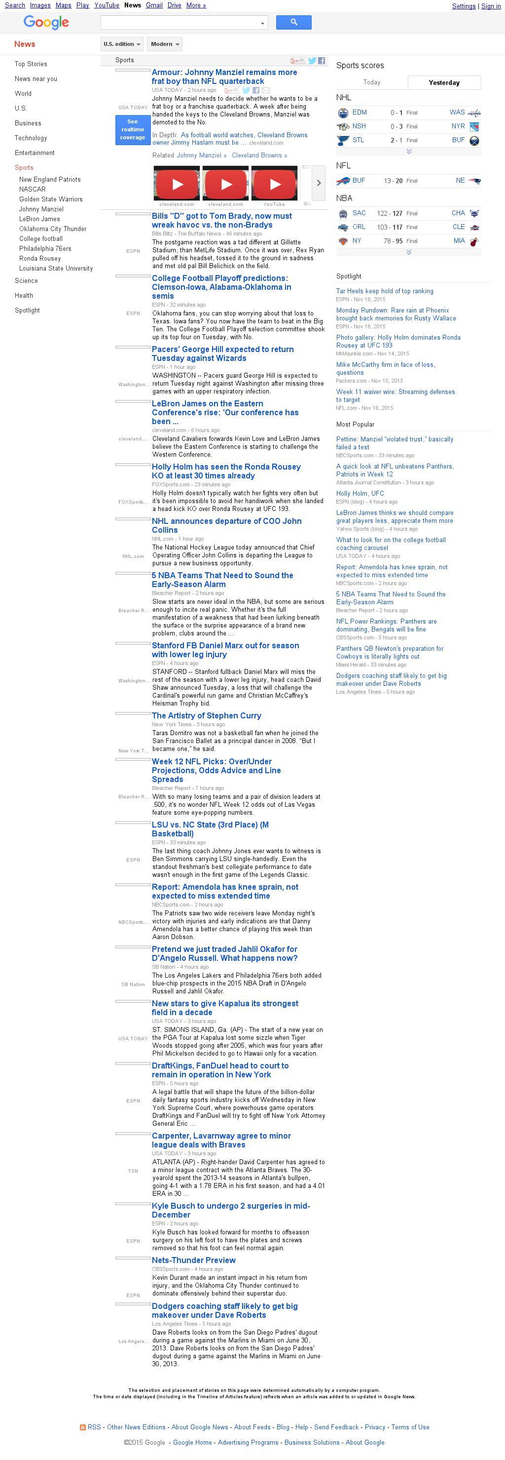 Google News: Sports at Wednesday Nov. 25, 2015, 1:08 a.m. UTC