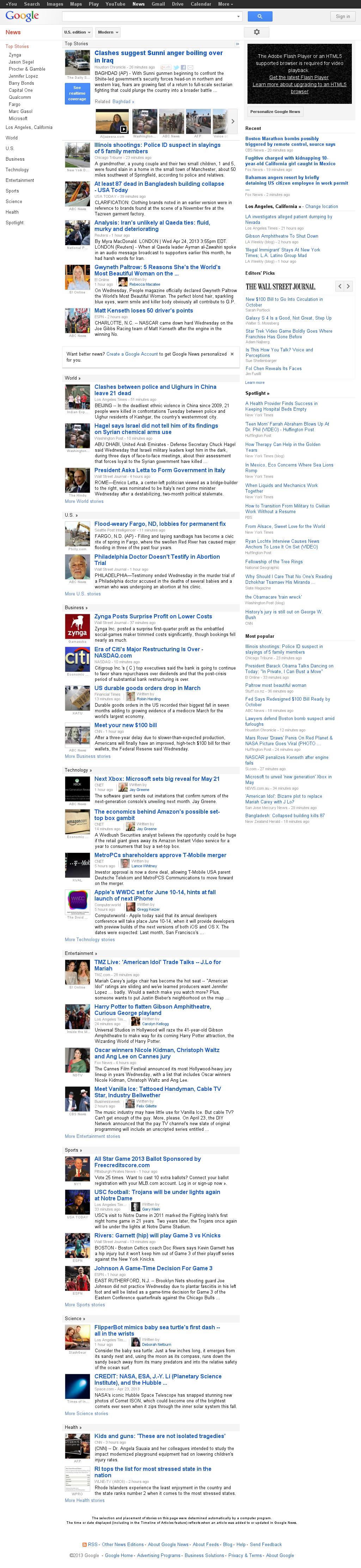 Google News at Wednesday April 24, 2013, 9:07 p.m. UTC