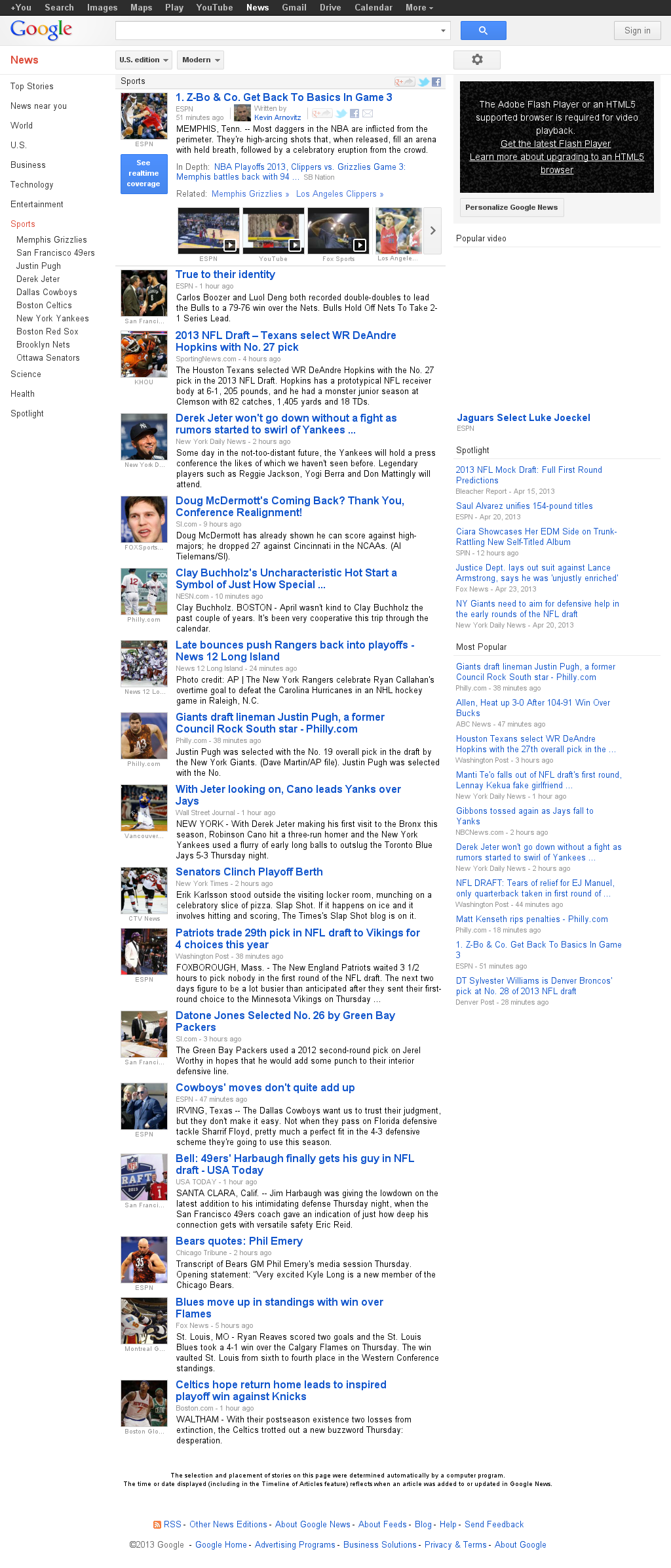 Google News: Sports at Friday April 26, 2013, 8:08 a.m. UTC