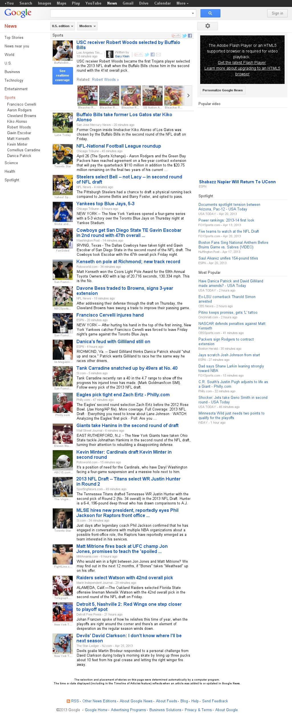Google News: Sports at Saturday April 27, 2013, 12:08 a.m. UTC