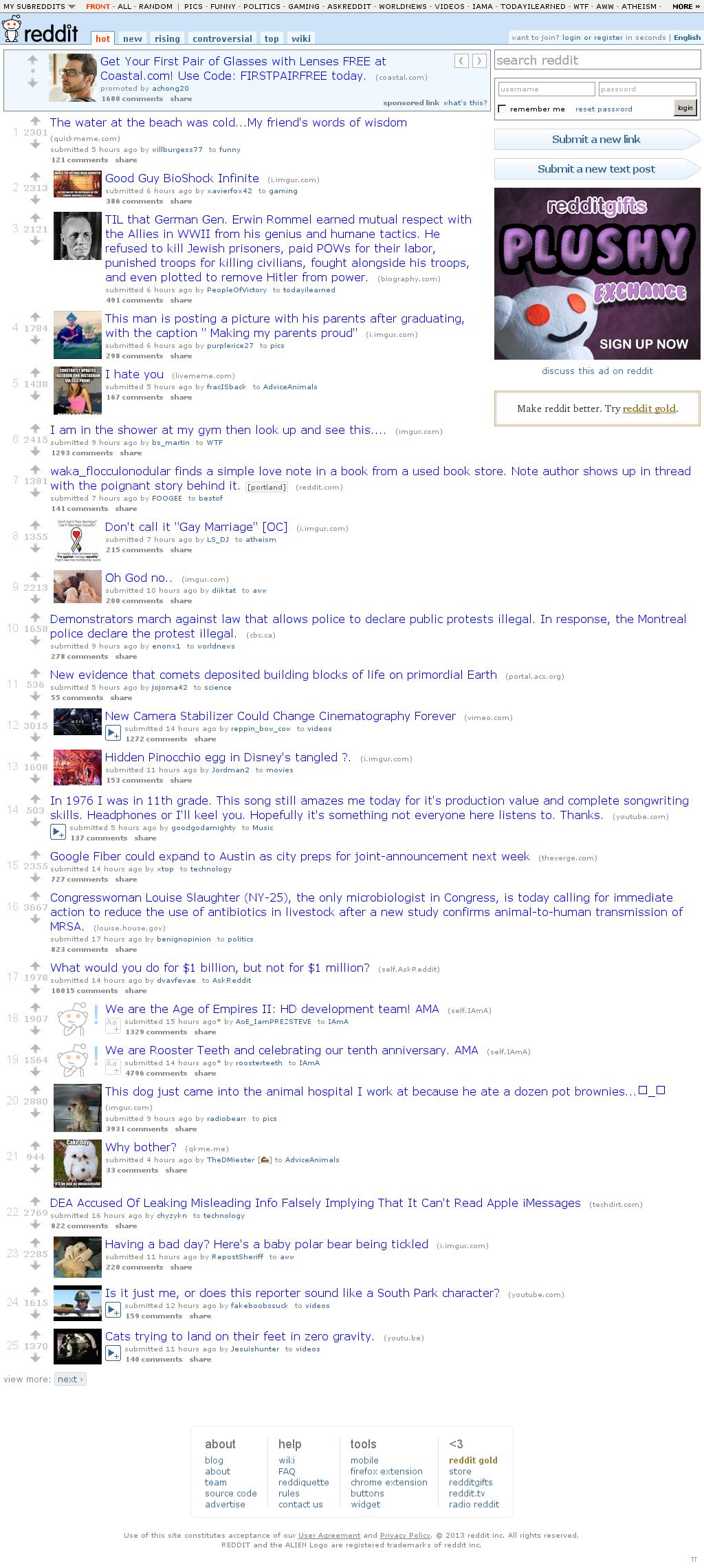 Reddit at Saturday April 6, 2013, 10:18 a.m. UTC