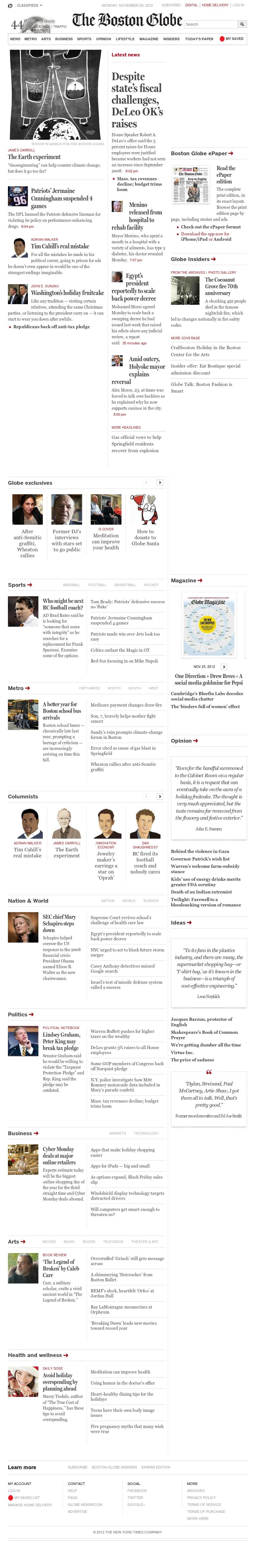 The Boston Globe at Monday Nov. 26, 2012, 10:02 p.m. UTC