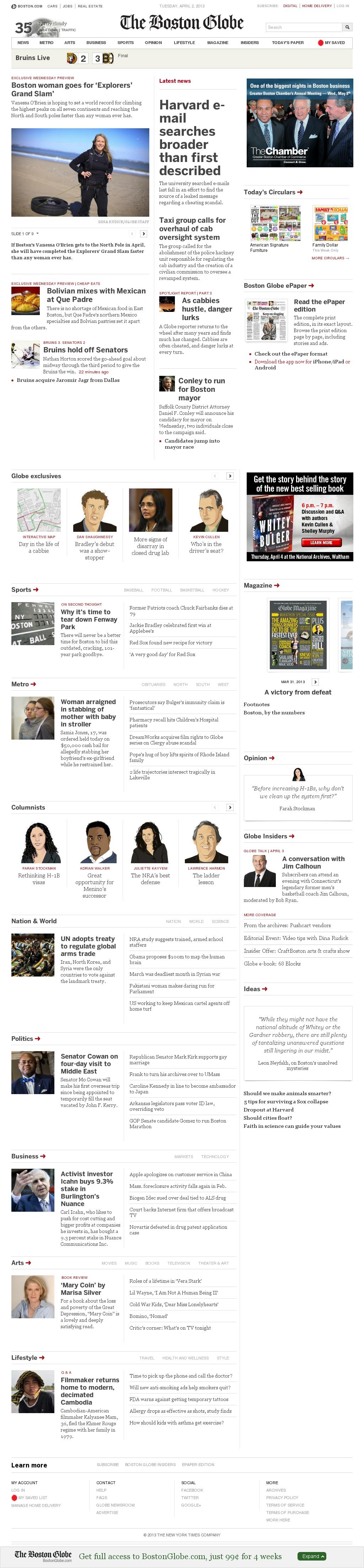 The Boston Globe at Wednesday April 3, 2013, 2:02 a.m. UTC
