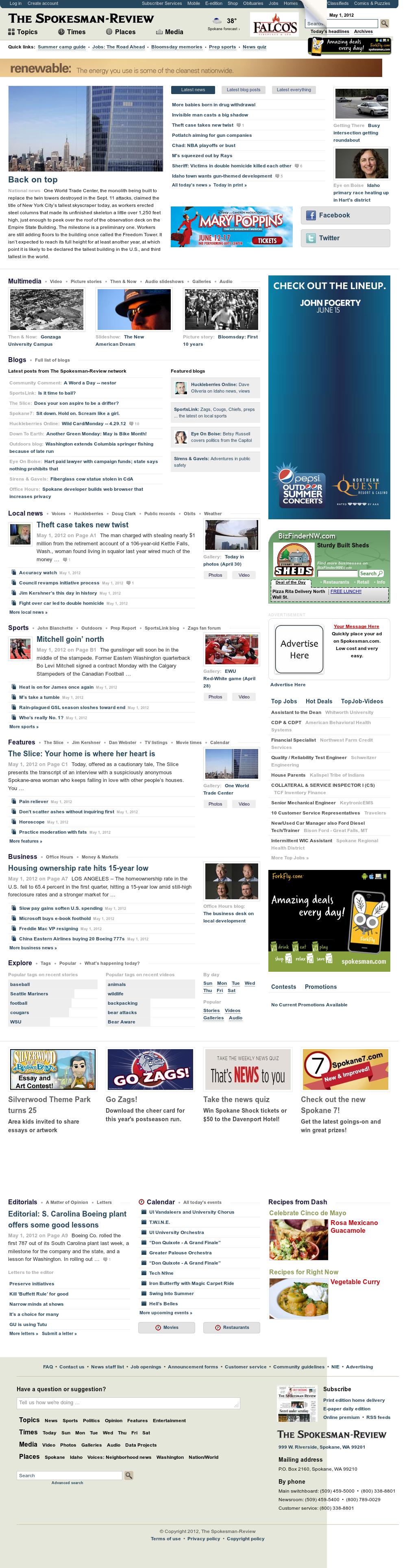 The (Spokane) Spokesman-Review at Tuesday May 1, 2012, 1:14 p.m. UTC