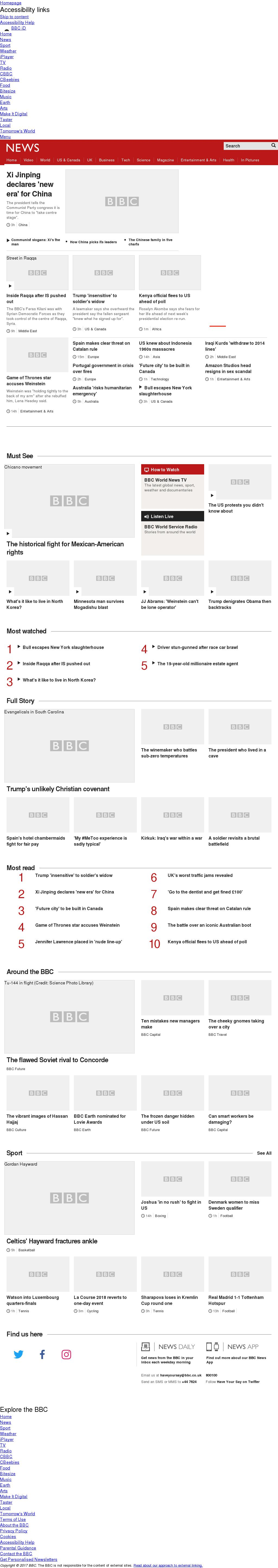 BBC at Wednesday Oct. 18, 2017, noon UTC
