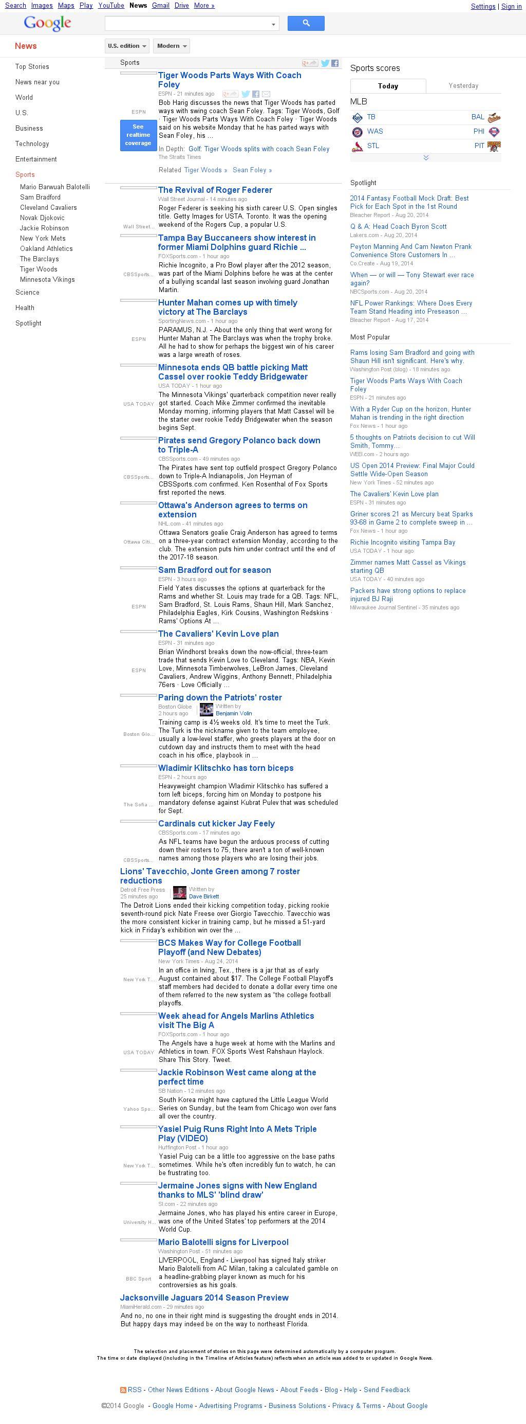 Google News: Sports at Monday Aug. 25, 2014, 5:09 p.m. UTC