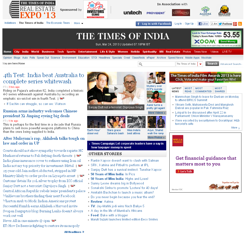 The Times of India at Sunday March 24, 2013, 1:50 p.m. UTC