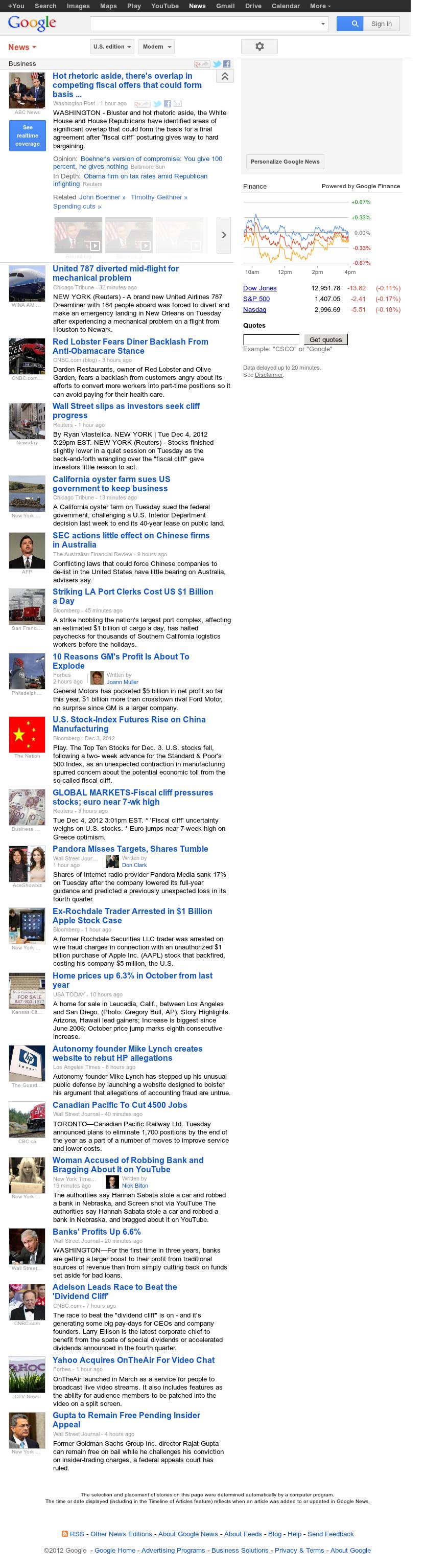 Google News: Business at Wednesday Dec. 5, 2012, 12:10 a.m. UTC