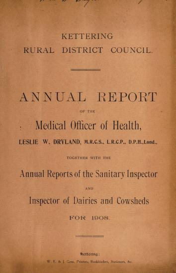 Cover of: [Report 1908] | Kettering (England). Rural District Council